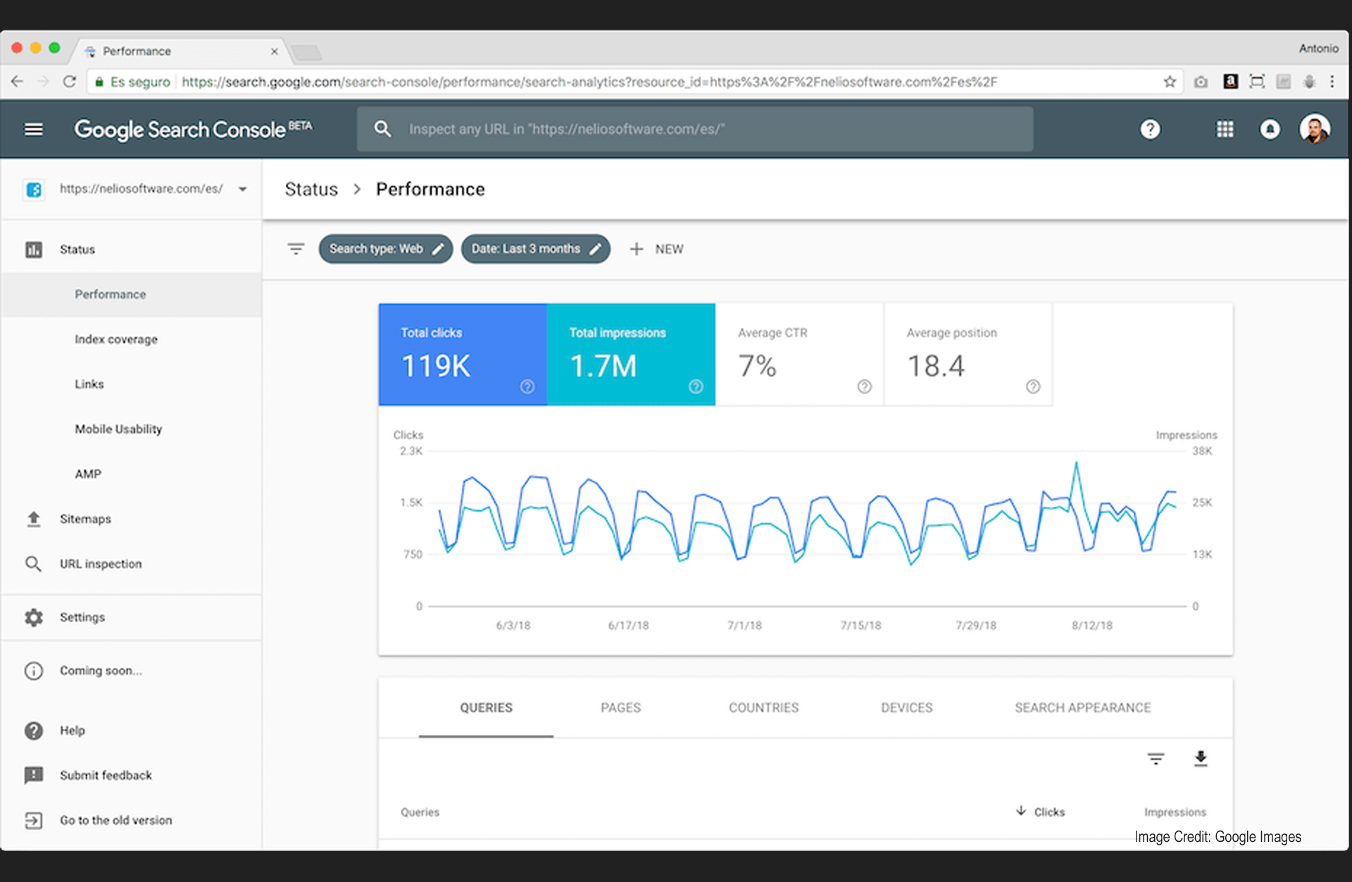 new search console screenshot