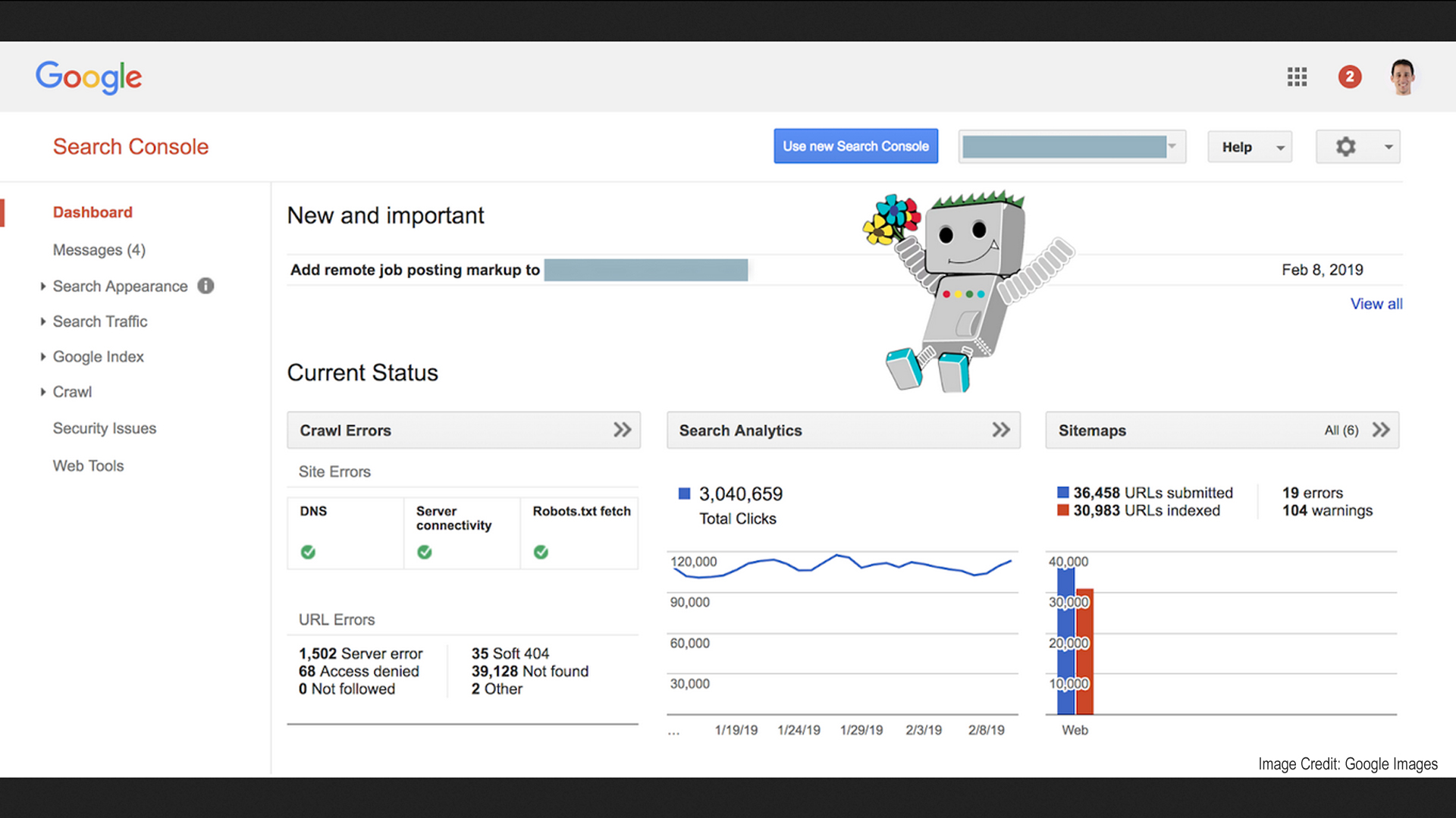 old search console screenshot