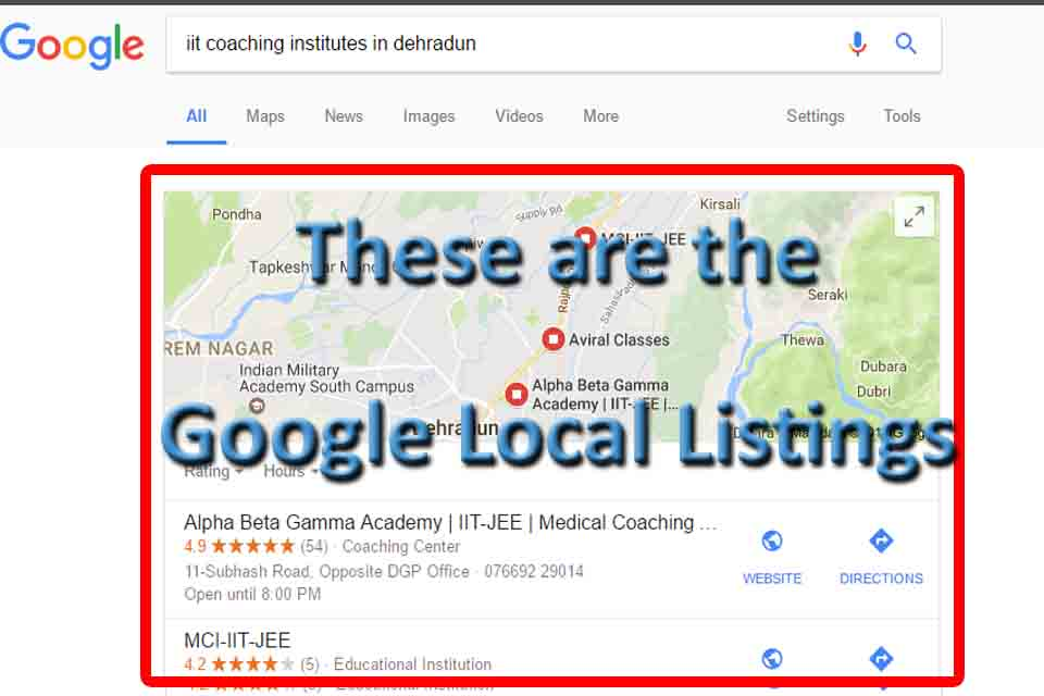 local google listings example